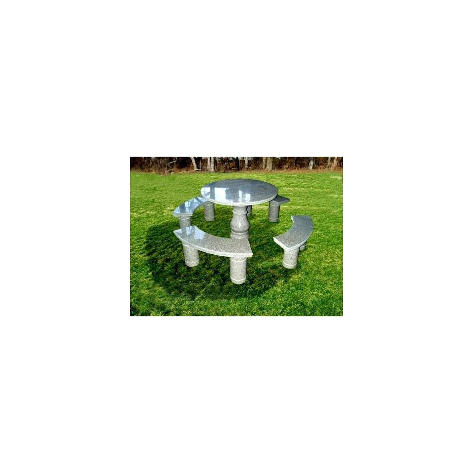 National Tree Company FQT 801 36 36 Inch Granite Round Table with Cone Shaped Pedestal and 4 Benches