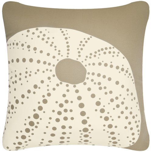 Sea Urchin 18 X 18 Inch Decorative Modern Organic Cotton Square Throw Pillow Cover, Khaki Brown front-1075697