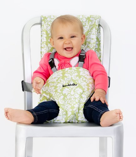 BambinOz Porta Chair Travel High Chair, Avocado Damask