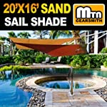 MTN OutdoorGear 20'x16' Deluxe Square Retangle Sun Sail Shade (Sand) with Hardware