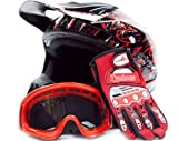 Adult Offroad Helmet Goggles Gloves Gear Combo DOT Motocross ATV Dirt Bike MX Black Red Splatter ( L large )