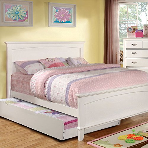 Colin Transitional Style White Finish Full Size Bed Frame