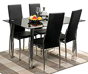 Merax 5pc Glass Top Dining Set 4 Person Dining Table And Chairs Set Kitchen Modern