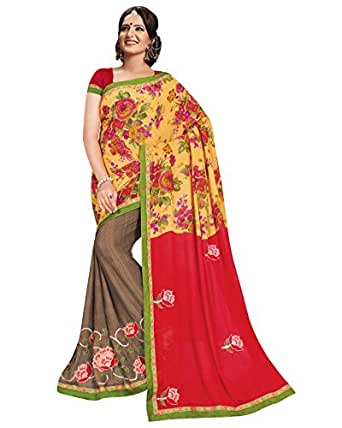 Prafful Yellow and Beige Georgette embroidered beautiful saree with unstitched blouse available at Amazon for Rs.999