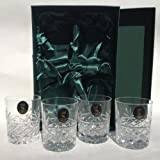 Sovereign 24% Lead Crystal Hand Cut 180g Whisky Glasses x 4 in Silk Lined Presentation Box
