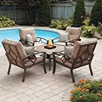 Hot Sale PATIO FURNITURE OUTDOOR LAWN & GARDEN KENNEDY 5 PC WITH FIRE PIT, CUSHIONS AND PILLOWS