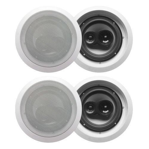 """Acoustic Audio Cs-Ic83-2Pr 350 Watt 8"""" 3-Way Home Theater In-Wall/Ceiling Speakers (2-Pair)"""