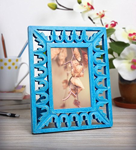 Bright Blue Hand Painted Wooden Single Photo (5 x 3) Picture Frame, Decorative Album Holder Display Stand Home Storage Furniture Living room Decor