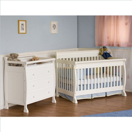 Best Deals! DaVinci Kalani 4-in-1 Convertible Wood Crib Nursery Set w/ Toddler Rail in White