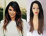 Deluxe Kim Kardashian Style Black Blonde Ombre Dip Dye Long Heat Resistant Fashion Wig