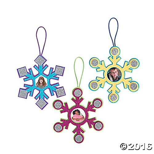 Set of 12 Colorful Glittery Snowflake Ornament Picture Frame Craft Kits ~ Large (Snowflake Picture Frame compare prices)