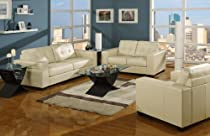 Hot Sale Roundhill Furniture Voale Soft-Touch Ivory Bonded Leather Living Room Sofa and Loveseat Set