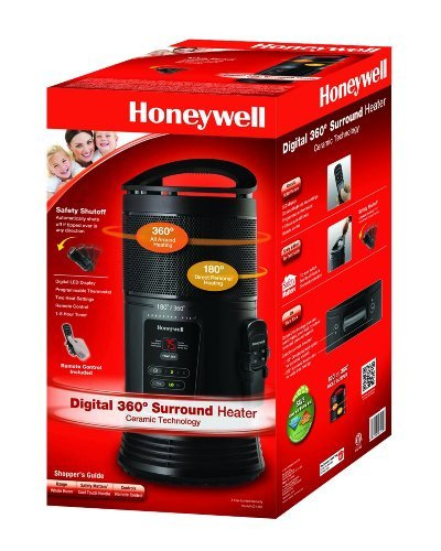B00826LKTO Honeywell Ceramic Surround Heat Whole Room Heater w/ Remote Control – Black, HZ-445R