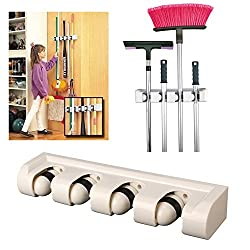 New Arrival - HOKIPO Magic Holder 4 Position Wall Rack Organizer for Mops Brooms and Long Handled Items