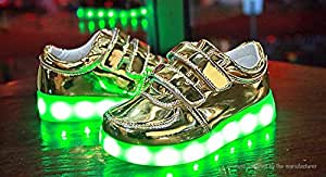 Kids LED Light Up Slip-On Luminous Shoes Sneakers (Size 30/Gold) - Size 30, Gold