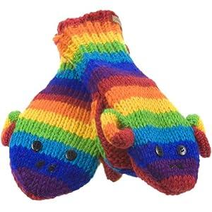 Old Glory - Unisex-child Rainbow Sock Monkey Kids Knit Mittens Multi