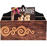 Butterfly Homes Wood Magazine Holder, 14 X 5 X 11, Black Copper