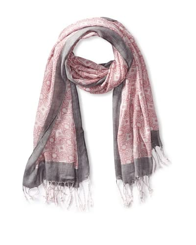 MILA Trends Women's Hand Block Print Scarf, Pink/Grey, One Size