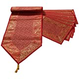 "Mela Banaras Handweaved Fabric Exclusive Table Runner 16""x90"" with 8 Place mats"