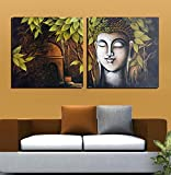 2 painting sets of beautiful buddha meditation in a forest Canvas oil painting print with wooden mounting | printasia CANVAS CLOTH PAINTING PRINT , size 31x31x5 cms