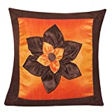 BIG LILY FLOWER PATCH CUSHION COVER BROWN & ORANGE 1 PC (40 X 40 CMS)
