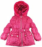 Velvet Chic 2-4T Girls Tonal Silver Polka Dot Belted Winter Puffer Jacket/Coat