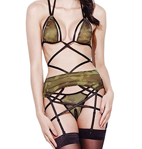 Elakaka 4pcs Sexy Sheer Army Lingerie Outfit(Size,S)