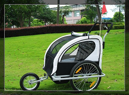 Aosom 2in1 Double Baby Bicycle Bike Trailer and Stroller Black/white