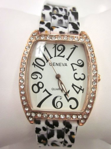 Women'S Geneva Watch White Leopard Print Silicone Rubber With Cz Crystal Rhinestone Around White Face
