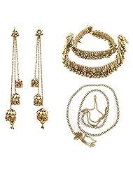 9blings Antique Style Kundan Cz Gold Plated Anklet Earrings Belt Combo Set N57