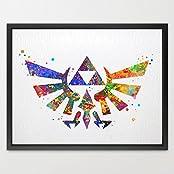 Dignovel Studios 8X10 Hyrule Crest Legend Of Zelda Modern Link Watercolor Art Print Wall Art Hanging Home Decor...