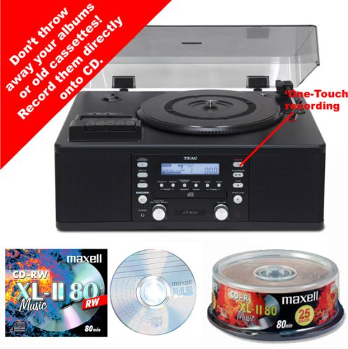 CD Recorder - Record / Copy from Vinyl Records  &  Tape Cassettes - Teac Music Centre System TE0065a - Turntable, CD player / recorder with Radio  &  Built in Speakers - NEW cool black finish + {FREE Maxell Pack 25 Blank Music Audio CD-R  &  Single Music CD-RW} - UK MODEL inc Remote Control