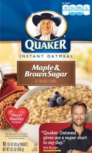 Quaker Instant Oatmeal Maple Brown Sugar, 10-Count Boxes (Pack of 4)