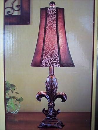 fleur de lis french tuscan bronze accent table lamp. Black Bedroom Furniture Sets. Home Design Ideas