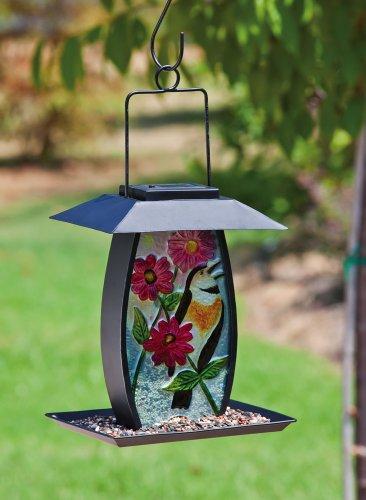 Cheap Metal and Glass Solar Powered Birdfeeder – Flowers (2BF197)