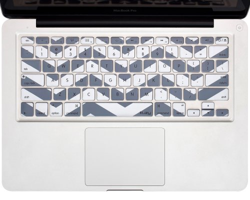 "Kuzy - Gray Chevron Zig-Zag Keyboard Cover For Macbook Pro 13"" 15"" 17"" (With Or W/Out Retina Display) Imac And Macbook Air 13"" Silicone Skin - Gray"
