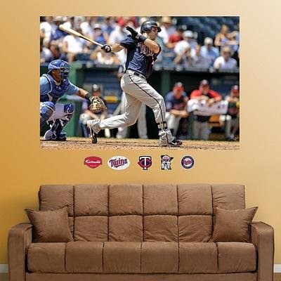 (48x72) Joe Mauer Mural ß Wall Decal family wall quote removable wall stickers home decal art mural