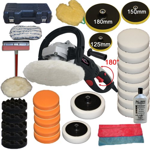 TecTake Car Polisher 1500 watt + Set 2 including 180 ° twist + 0-3000 U / min function