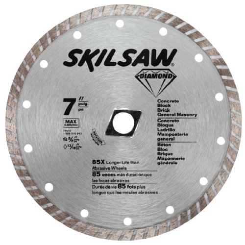 SKIL 79510 7-Inch Turbo Rim Diamond Saw Blade with 5/8-Inch or Diamond Knockout Arbor for Masonry