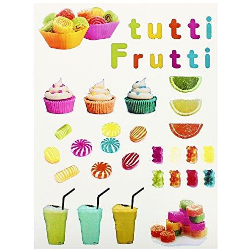 -Planche Lot Stickers Gourmand Fruit Bonbons Friandises Tutti Frutti