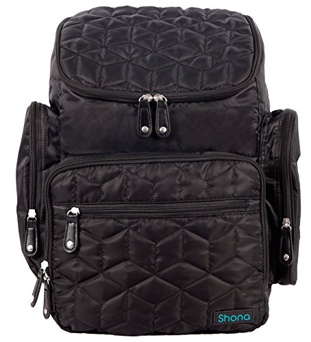 Shona Quilted 4 Piece Diaper Bag Backpack Set, Dry bag and changing pad, Upgraded zippers (Black)