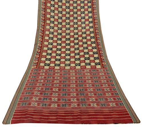 vintage-patola-imprime-pur-coton-saree-robe-beige-faire-sari-craft-tissu