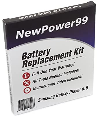 Samsung GALAXY Player 5.0 Battery Replacement Kit with Video Installation DVD, Installation Tools, and Extended Life Battery