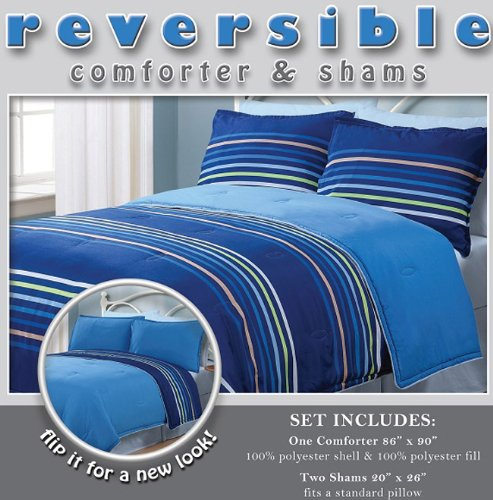 Pieces reversible blue green brown and white stripe comforter