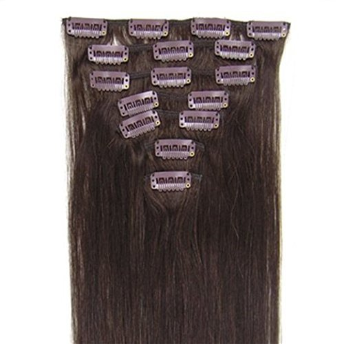 Clips-inon-Hair-Extensions-Hairpieces-Full-Head-20inch-7pcs-Straight-100G