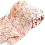 有松鳴海絞しぼり浴衣反物「ピンクと黄色のまだら染めに菱形」一級和裁技能士の国内手縫いお仕立て付絞りゆかた桃イエロー