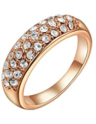 Kaizer Three Row Sparkling 18k Rose Gold Plated Ring for Women