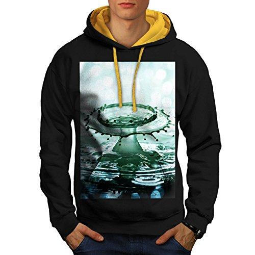 acqua-spruzzo-arte-pioggia-uomo-nuovo-nero-cappuccio-dorato-s-contrasto-felpa-con-cappuccio-wellcoda
