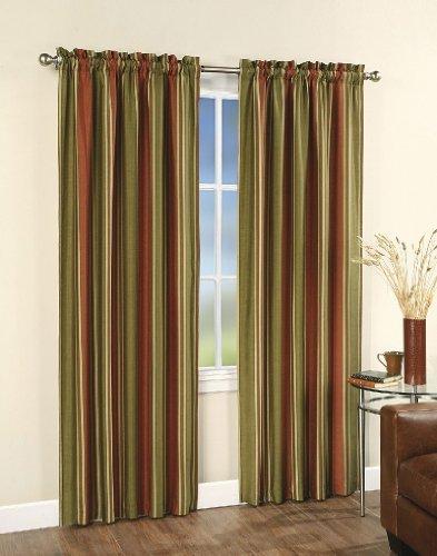 Faux Silk Stripe Lined Curtain Panel - 42 in. W x 84 in. L