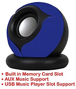 Portable Mini Speaker Supports with Memory Card/USB/AUX Function Compatible For Asus Zenfone Zoom ZX550-BLUE